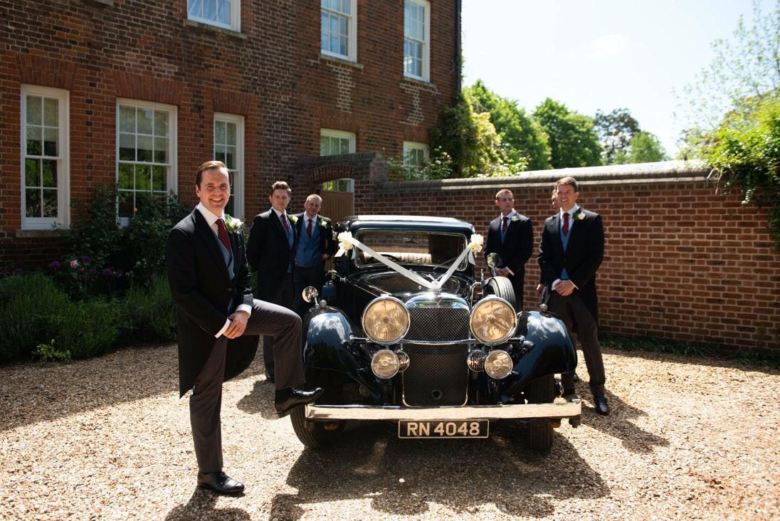 Groomsmen wedding car